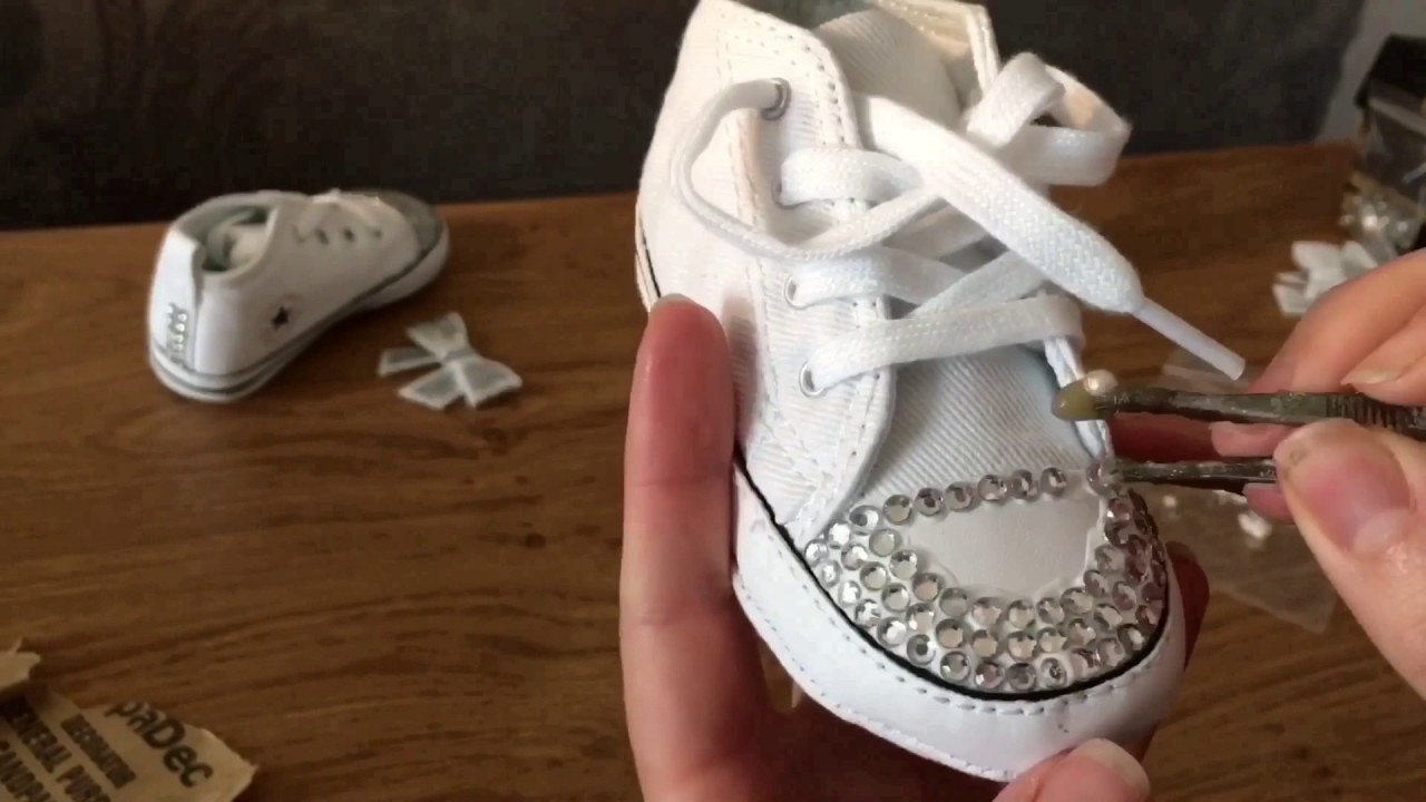 Newborn Shoes Vans Custom Bling Baby Shoes Bedazzled Shoes Easy Diy Craft Gift Customised Converse