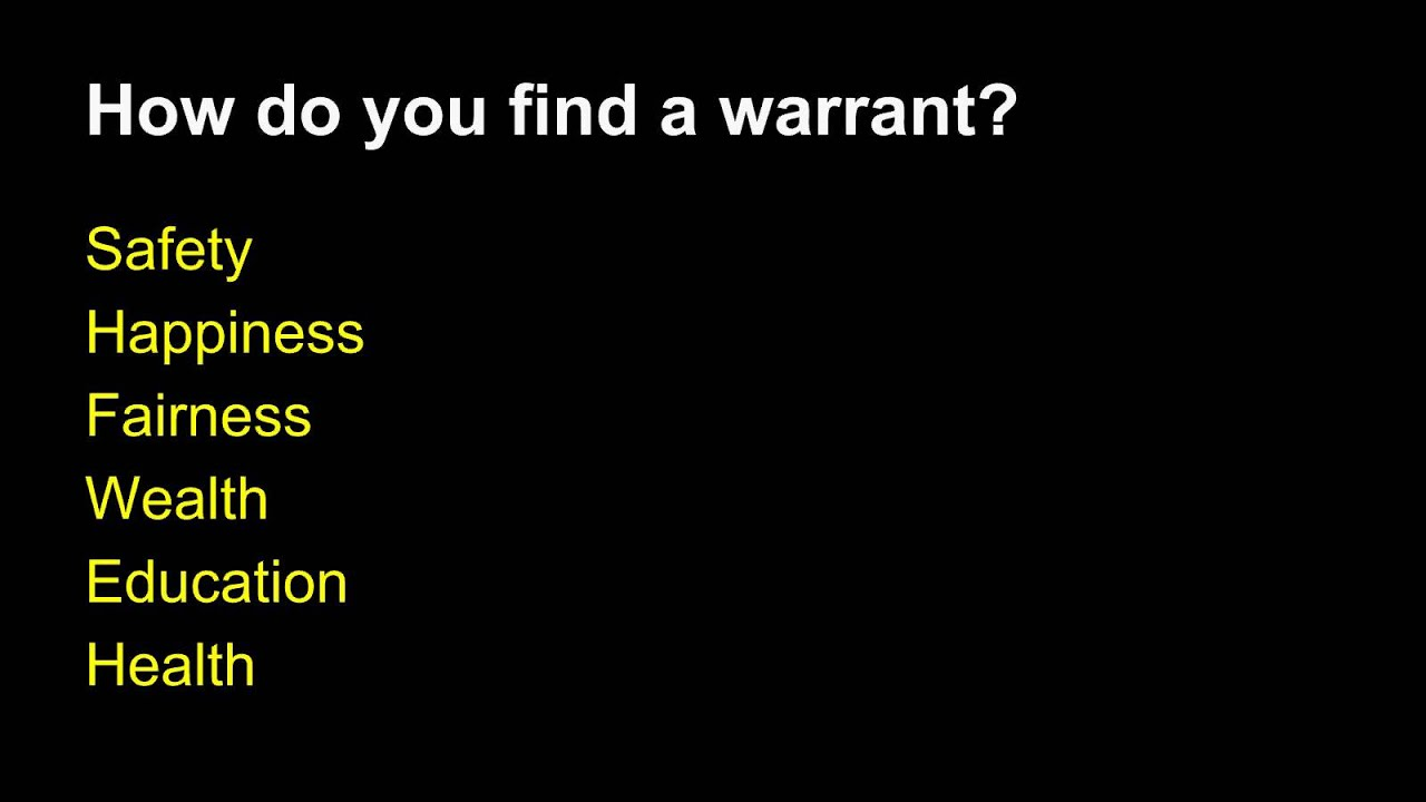warrant argumentative essay Stephen toulmin identified six elements of an argument: the claim, grounds, warrant, backing, qualifier and rebuttal.