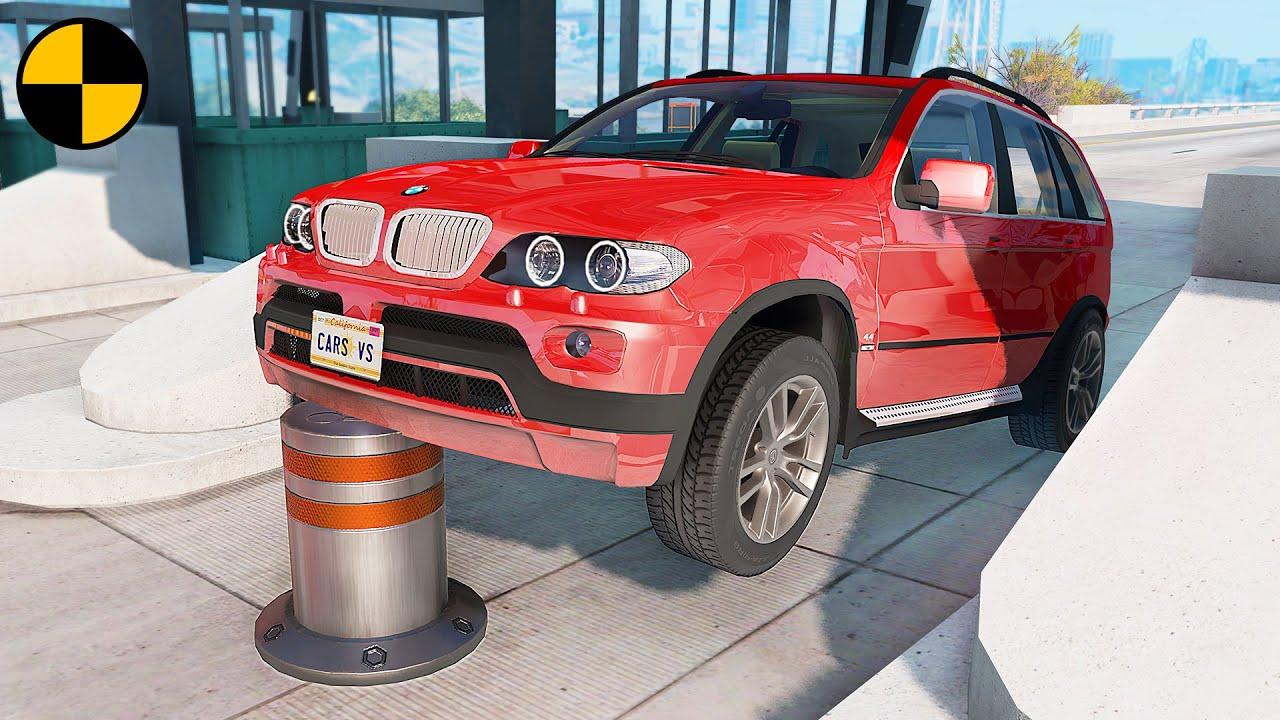 Cars vs Bollards 😱 BeamNG.Drive