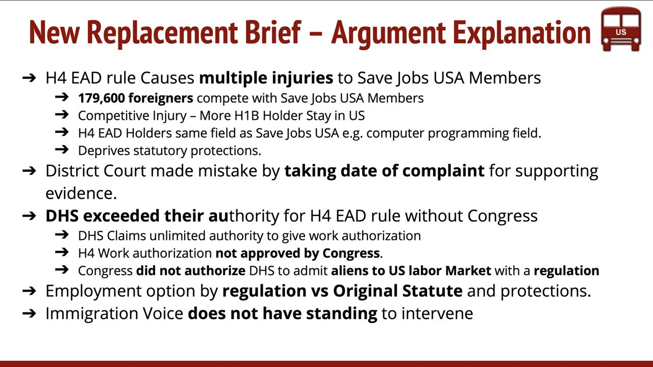 H4 EAD News Jan 2019 Update Replacement Brief Filed DHS Motion Denied