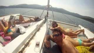 Sailing on board a catamaran in Greece