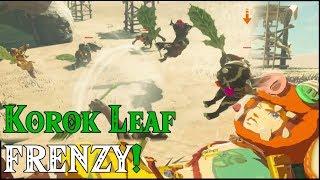 CRAZY Korok Leaf FIGHT! 10 Bokoblins VS Link BREAKING WIND in Zelda Breath of the Wild