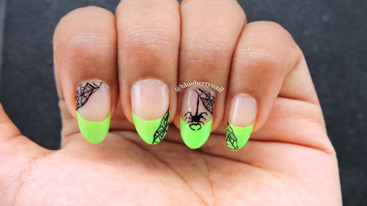 Neon Green French Tip With Spiderweb Nail Design