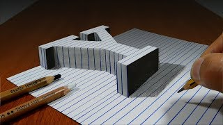 Draw a Letter Y on Line Paper   3D Trick Art