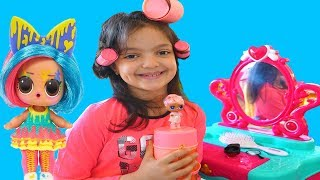 Masal and Öykü Pretend play Make Up Toys - LOL Surprise Hair Goals Series