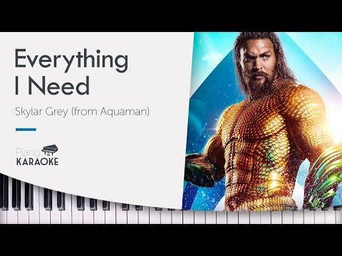 Everything I Need - Karaoke Instrumental On Piano [Skylar Grey - Aquaman Soundtrack] (Original Key)