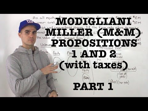 FIN 401 - Modigliani-Miller (M&M) Proposition 1 and 2 (with tax) - Part 1