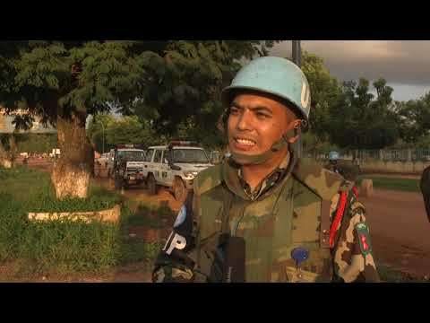 United Nations (UN), MINUSCA Force Military Police Patrol in Bangui Central Africa Republic