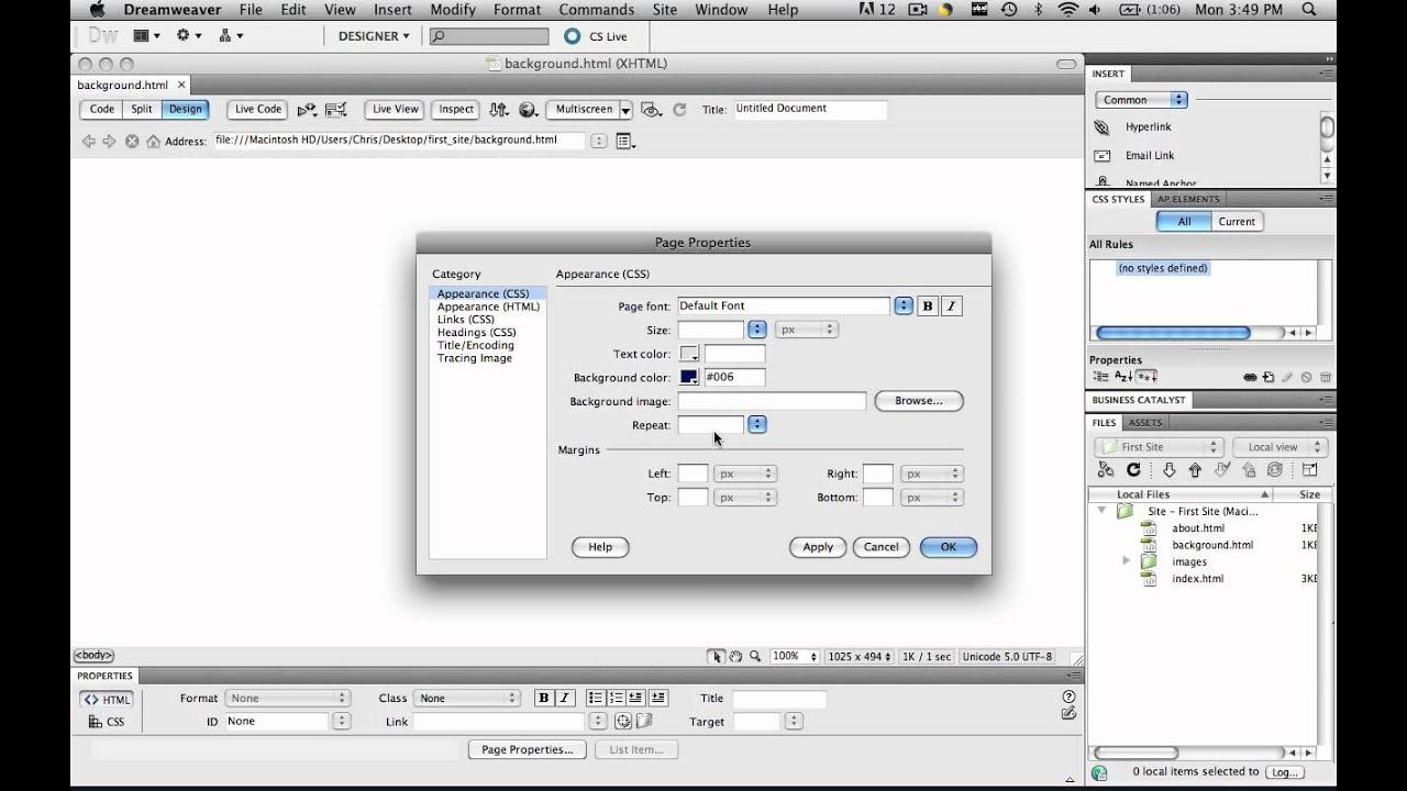 Background image dreamweaver - Dreamweaver Tutorial Background 01 Change The Background Color