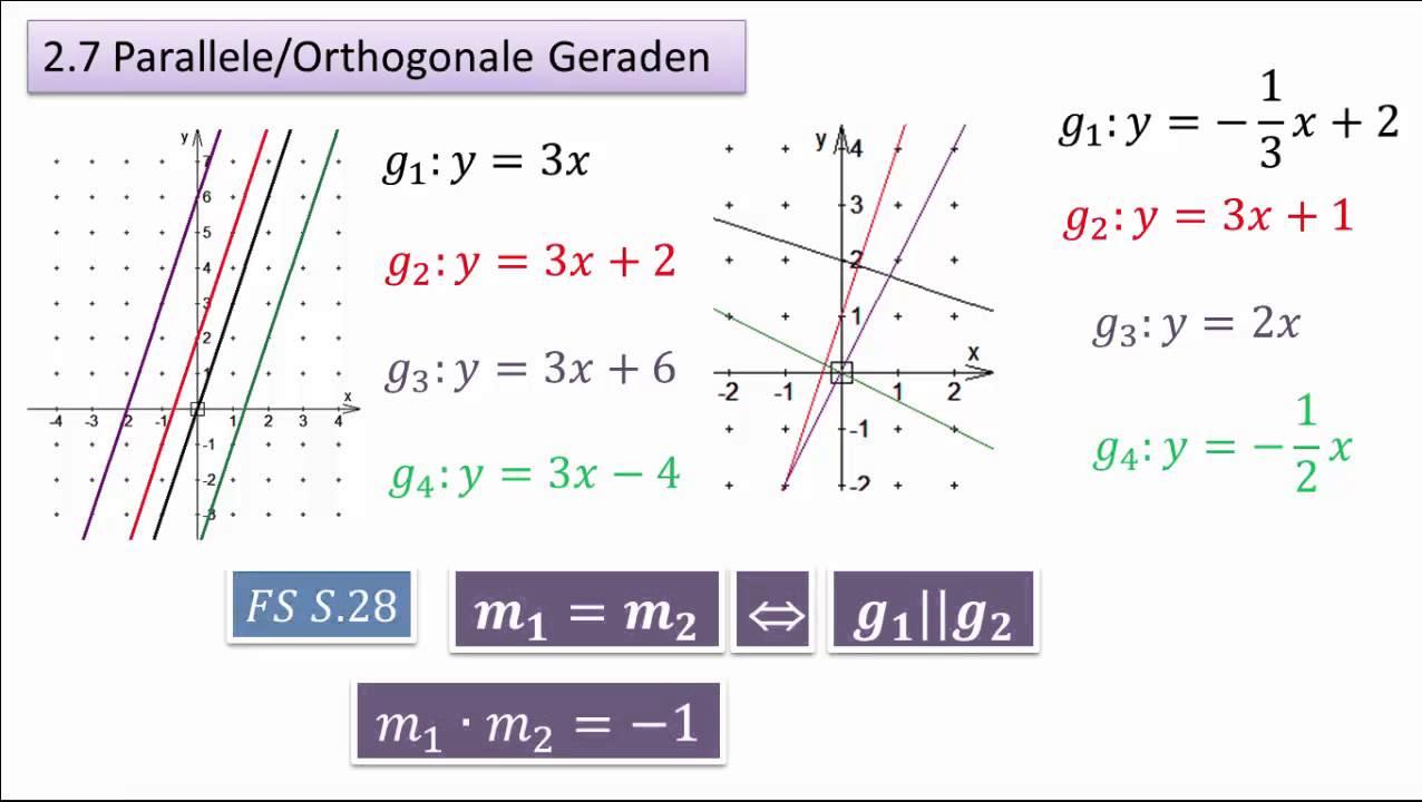 2.7 (4.7) Parallele und Orthogonale Geraden - YouTube