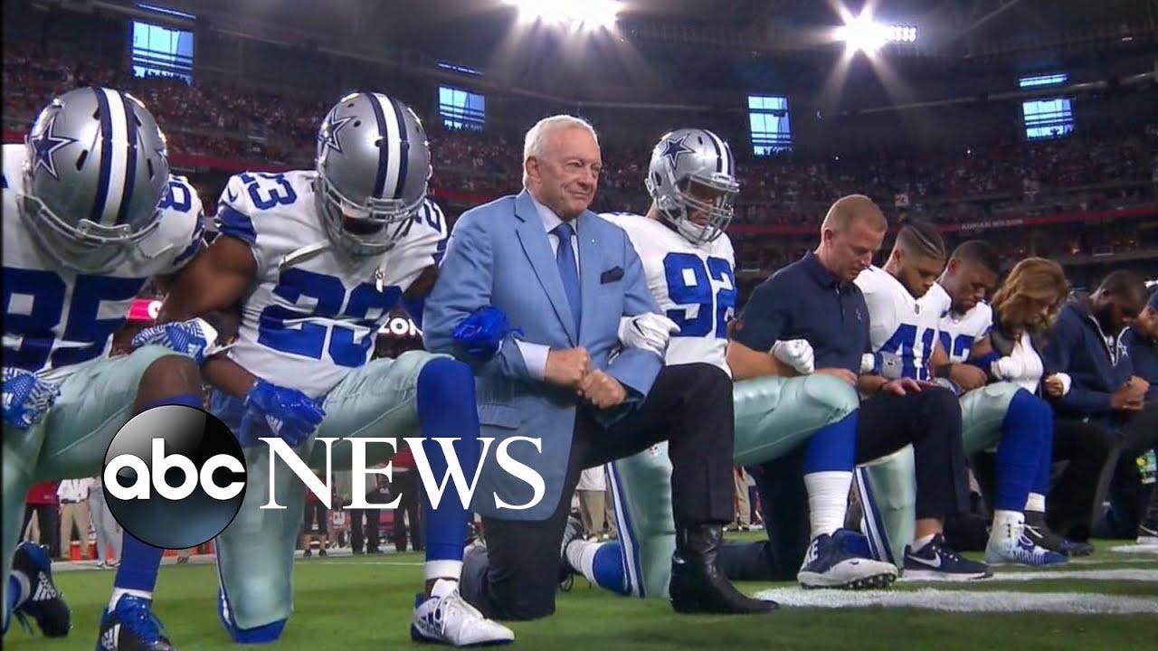 Dallas Cowboys Jerry Jones Take Knee Before National Anthem Youtube