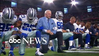 dallas cowboys jerry jones take knee before national anthem