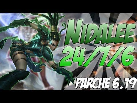 Nidalee Mid   One shots! +24 kills   League of legends (Parche 6.19)