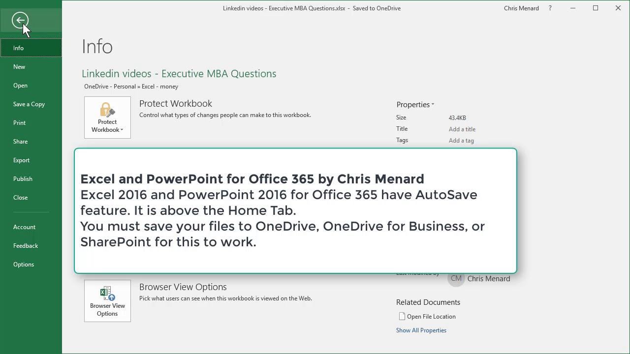 AutoSave in Excel and PowerPoint for Office 365 by Chris Menard
