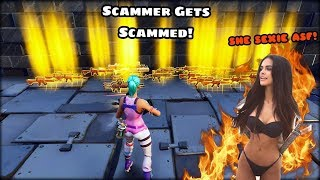 CRAZY GIRL TRIES TO SCAM ME (SCAMMER GETS SCAMMED )(Fortnite Save The World)