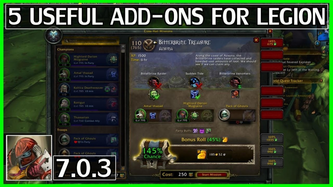 WoW 5 Useful Addons For Legion - Order Hall Missions, World Quests & More