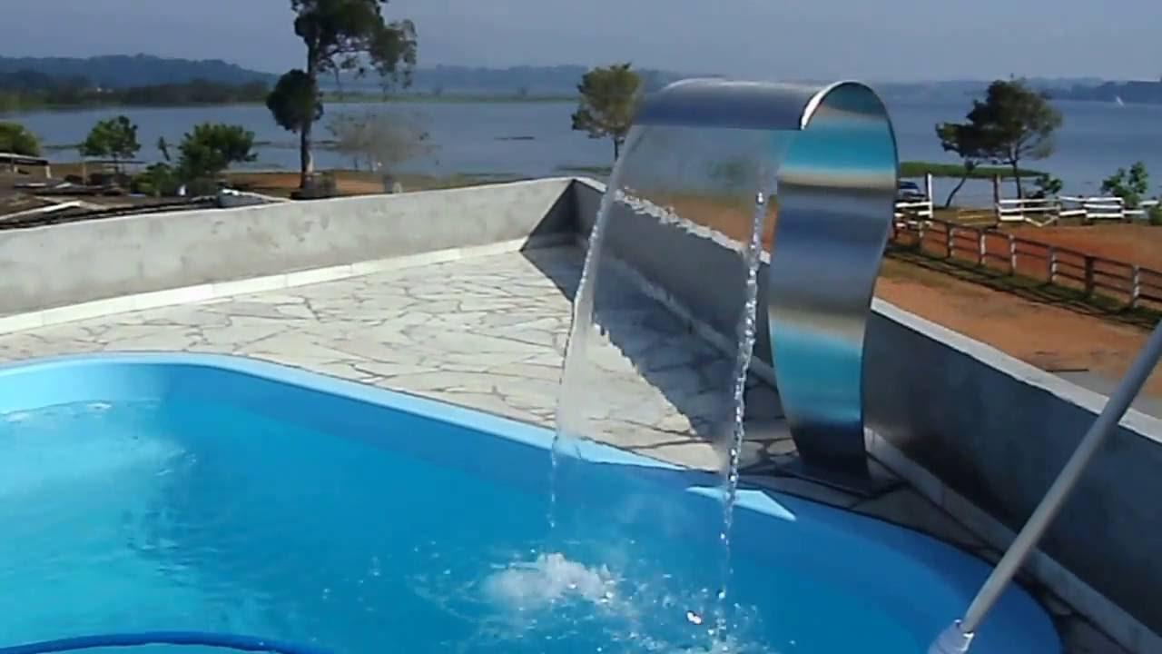 Cascata em a o inox para piscina youtube - Piscina a cascata ...