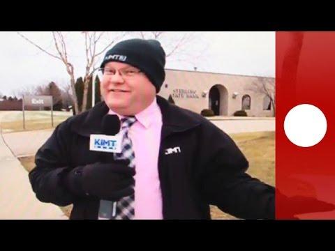 Bank robber interrupts live news report