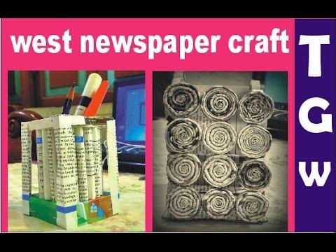 diy pen pencil holder out of west newspaper making tutorial