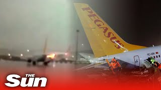 CCTV footage shows the moment a Pegasus Airline plane crashed in Turkey - snapping in three places