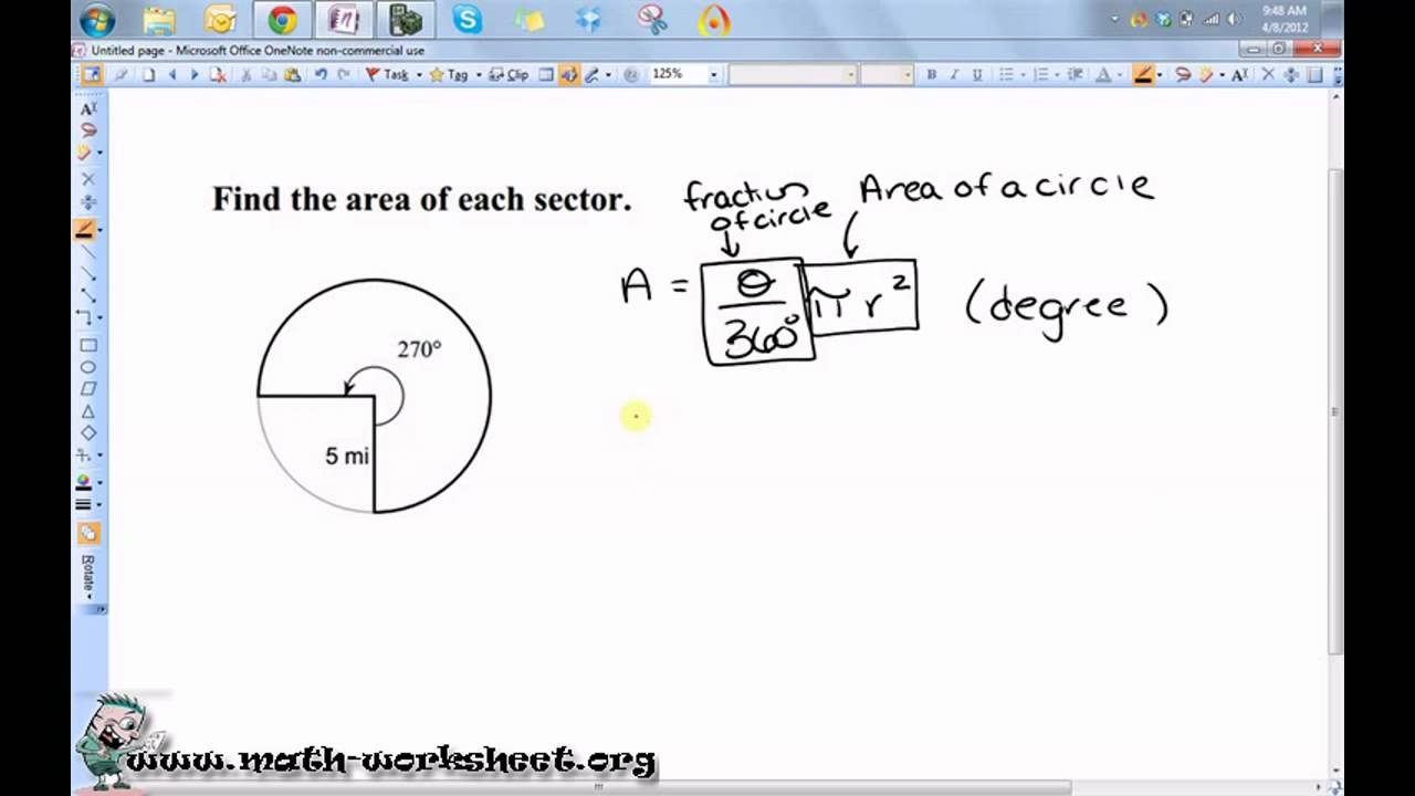 Worksheets Area Of A Sector Worksheet geometry circles arc length and sector area hard youtube math worksheets