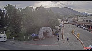 Preview of stream Town square with elk antler arches, Jackson Hole, USA