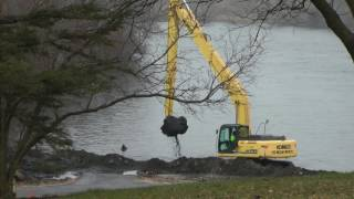 badger lake kennedy park webster county iowa dnr fishing pier project big equipment
