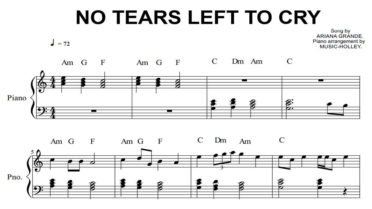 Ariana Grande No Tears Left To Cry Easy Piano Sheet Youtube