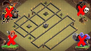 New Best TH9 War Base 2018 | Defense against Th10 GoVaBo, Th10 LavaLoon, Th9 GoValk, Th9 LavaLoon