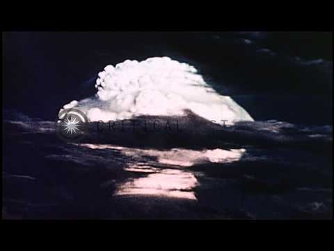 Detonation of liquid thermonuclear device MIKE, the first hydrogen bomb, at Enewe...HD Stock Footage