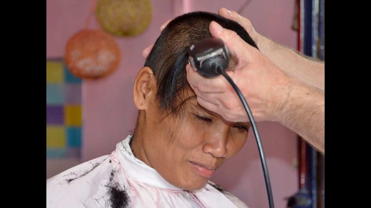 woman extreme military hair cut - youtube