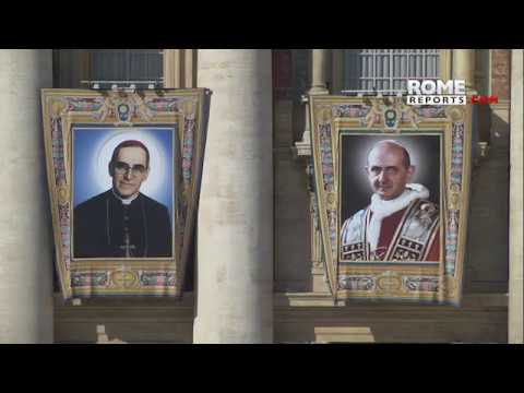 Images of seven future saints overlook St. Peter's Square