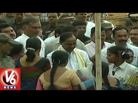CM KCR Medak Tour: KCR Lays Foundation Stone For  Collectorate & SP Office Buildings | V6 News