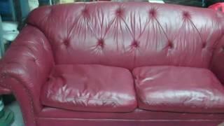 Leather Sofa & Ottoman Restoration