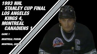 The kings win their first stanley cup final game by defeating canadiens at montreal forum.the great one added four points, while luc robitaille talli...