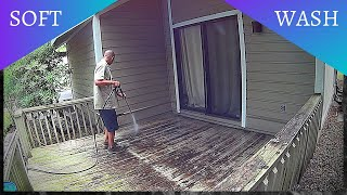 Pressure Wash a Very Dirty Painted Wood Deck with ONLY Low Pressure & 10% SH