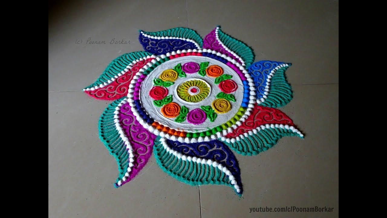 Beautiful And Innovative Multicolored Rangoli For Diwali Easy