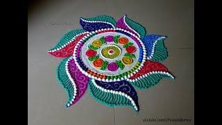 Beautiful and innovative multicolored rangoli for diwali | Easy rangoli designs by Poonam Borkar