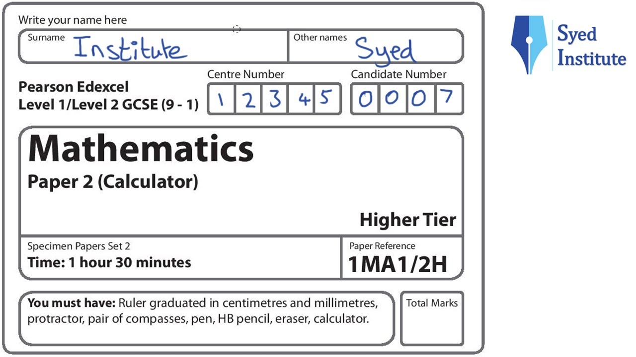 GCSE Maths 9-1 Exam Paper 2 Higher Calculator | 1MA1/2H Specimen Set 2  Edexcel
