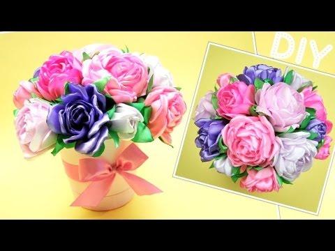Цветы из атласных лент в горшочках своими руками