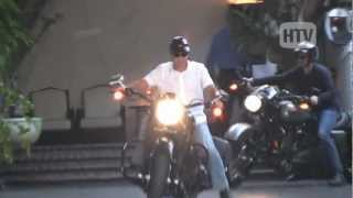 Harley Davidson Touring Bike: Superstud George Clooney Lunches At Chateau Marmont.
