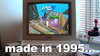 I played Fortnite on a MONITOR from the 1990's... (old monitor)