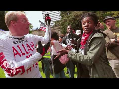 Christian Preacher vs Leftist Protester Portland Free Speech Rally