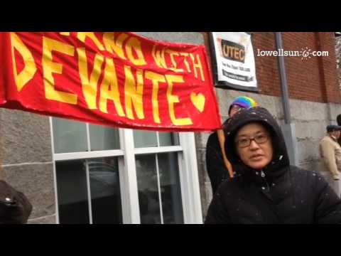 Sue Kim explains why the group Community Advocates for Justice & Equality held a protest outside Low