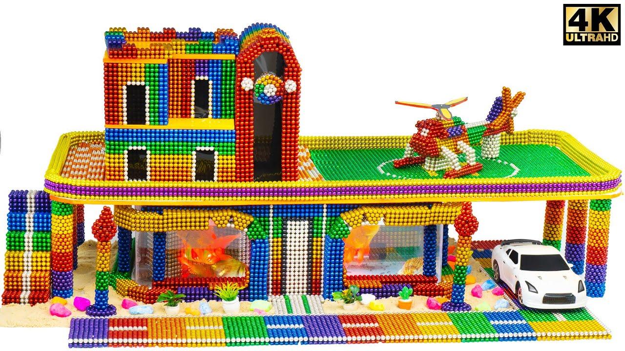 DIY - Build Rainbow Mansion House Has Aquarium From Magnetic Balls ( Satisfying )| Magnet Satisfying