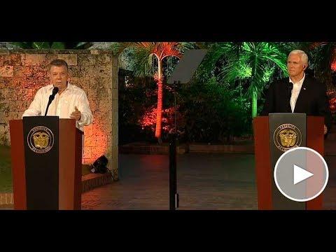 Presidente Santos y el Vicepresidente de los Estados Unidos, Mike Pence