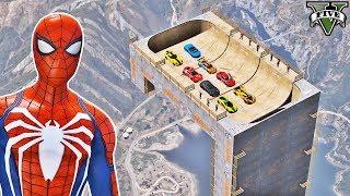 CARROS na Rampa Reta com Homem Aranha e Heróis! Desafio com Carros - GTA V Mods - IR GAMES