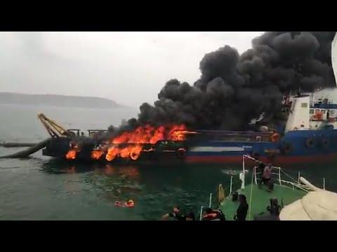 Massive fire on Offshore Support Vessel Coastal Jaguar, 28 rescued
