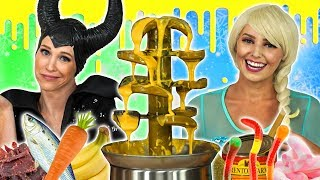 MALEFICENT VS ICE QUEEN FONDUE CHALLENGE. (What Food do they have to Eat?) Totally TV Challenge