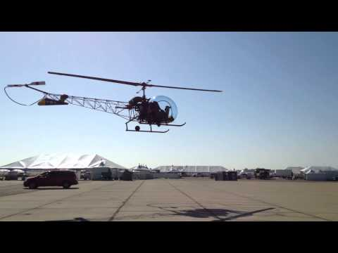 Bell H-13 helicopter parking